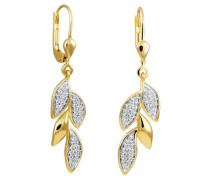 Ohrhänger 375 Gelb mit 62 Diamanten, zus. ca. 0,15 ct