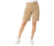 Shorts Ziernähte Baumwoll-Stretch uni