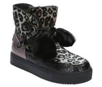 Bootseoparden-Muster, gefüttert, Bommel, Herz-Patch