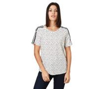 T-Shirt, Allover-Print, Kontraststreifen, für Damen, creme, 40