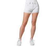 Jeans-Shorts, streifen, floraler Häkel-Besatz