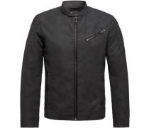 Biker-Jacke in Leder-Optik, Zipper-Taschentehkragen, für Herren