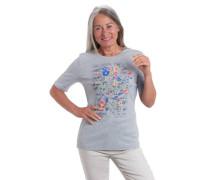 T-Shirt Bio-Baumwolle florales Print Nieten-Details