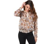Bluseangarm, transparent, Blumen-Muster, für Damen, ecru/hellbraun