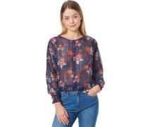 Bluse, langarm, transparent, Blumen-Muster, für Damen, /rot