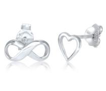 Ohrringe Stecker Herz Infinity Symbol Liebe 5er