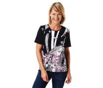 T-Shirt Blumenmuster Streifen-Details Stretch