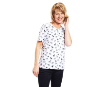 T-Shirt Baumwoll-Mix Strass-Besatz Tier-Print