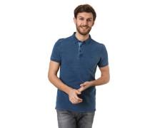 Poloshirt seitliche Schlitze Piqué Marken-Stickerei