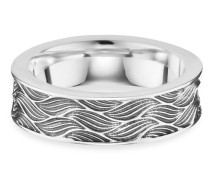 Ring 925/- Sterling Silber rhodiniert oxidiert Wellen, 62