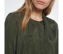 Schluppenbluse Langarm Uni Grün Grün