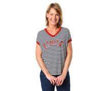 T-Shirt gestreift glitzernde Lochstrick-Details Schrift-Print