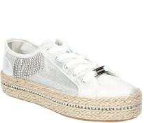 Sneaker, Schnürung, Bast-Plateausohleetallic-Look, Strass-Steinchen,