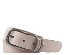 Gürtel Leder Dornschließe Nieten-Besatz uni