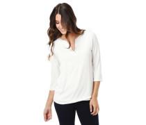 Shirt 3/4-Arm Split-Neck fließender Stoff Satin-Blende