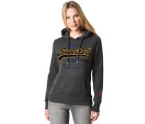 Sweatshirt, Kapuzechrift-Print, Kängurutaschen, für Damen, dunkel