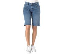 Jeans-Shorts Regular Fit Waschungen Ziernähte Herz-Stickerei
