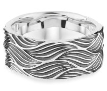 Ring 925/- Sterling Silber oxidiert Wellen, 62