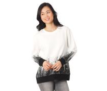 Sweatshirt Print zweifarbig Rippabschlüsse Label-Patch