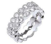 Ring-Set rhodiniert mit Kristallen