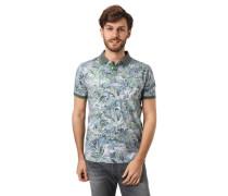 Poloshirt, Tropical-Print, seitliche Schlitze