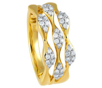 Ring 585 Gelb mit 42 Diamanten, zus. ca. 0,40 ct