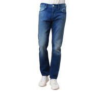 Jeans Slim Fit Waschung kurze Knopfleiste Patch