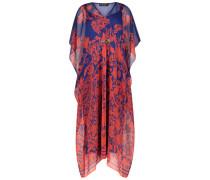 Oriental print silk high-low dress