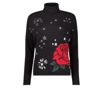 Rose design turtleneck jumper