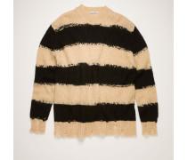 Black/warm beige Distressed striped sweater