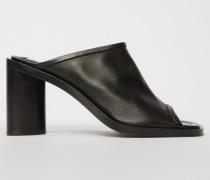 Schwarz/Schwarz Leder-Mules mit offener Spitze