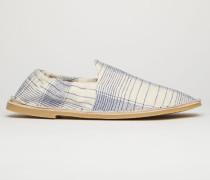 Beige/Blau Karierte Loafer aus Leinenmischung
