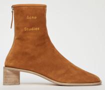 Antikbraun/Ecru Logo-geprägte Stiefel aus Wildleder