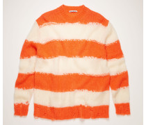 Off-white/coral Distressed striped sweater