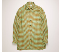 Mintgrün/Toffeebraun Kariertes Leinenhemd