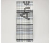 Grau/Hellblau Logo-jacquard check scarf