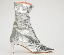 Folierte Ankle Boots mit Knittereffekt