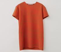 Tomatenorange/Ölgelb T-Shirt mit Wirbel-Print