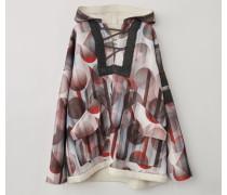 Braun/Weiß Kapuzen-Pullover mit Geometrischer-Print