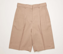 Pleated wool-blend shorts