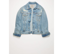 1998 Blue Patched Up Denimjacke in schmaler Passform