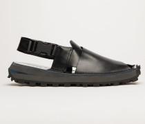 Schwarz/Schwarz/Schwarz Gekreuzte Sandalen aus Leder
