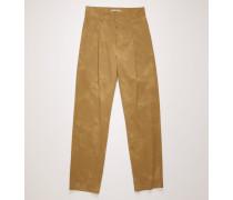 Haselnussbeige/Taupe Hose aus ausgewaschenem Twill