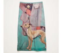 Dog-print midi skirt