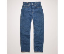 Mece Dark Blue Trash Gecroppte Jeans in gerader Passform