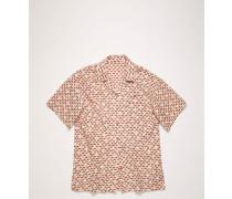 Rosa/Rot Fil Coupe-Hemd mit kurzen Ärmeln