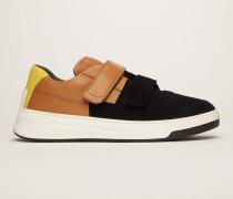 Perey Flocked Schwarz/Braun/Weiß Beflockte Sneakers mit Klettverschluss