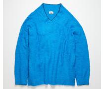 Gebürsteter Pullover mit V-Ausschnitt