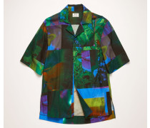 Marineblau/Grün Kurzärmliges Hemd mit botanischem Print