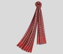 Schal mit Webkante und Tartan-Motiven